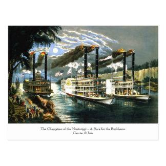 Currier u. Ives - Postkarte - Meister Mississippi