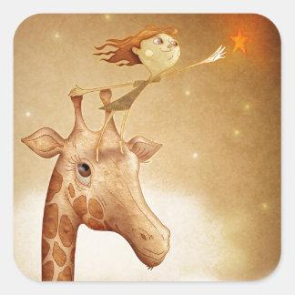 Cute and imaginative illustration sticker carré