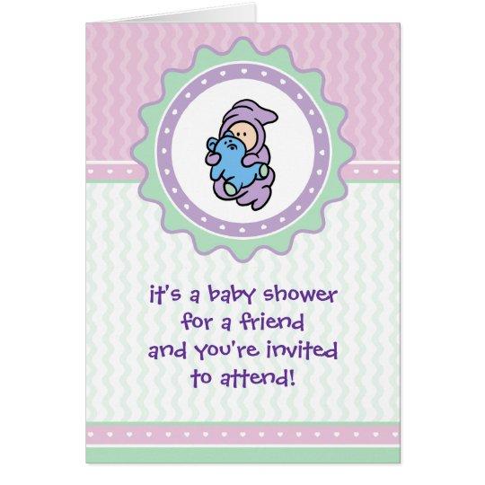 Cutietoots Babyparty-Einladung - Rosa/Grün Grußkarte