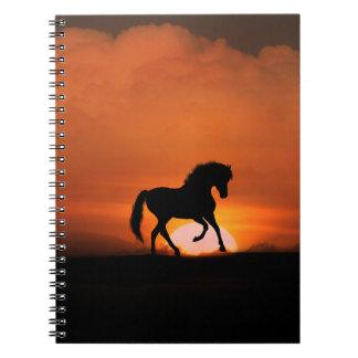 Cutomizable Pferd im Sonnenuntergang-Notizbuch Spiral Notizbücher