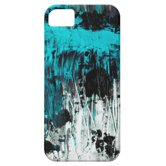 Cyan abstract art painting phone case