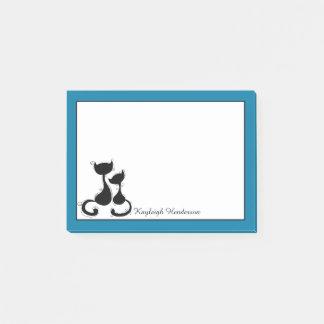 Cyan-blaue blaue schwarze Katzen-Silhouette Post-it Klebezettel