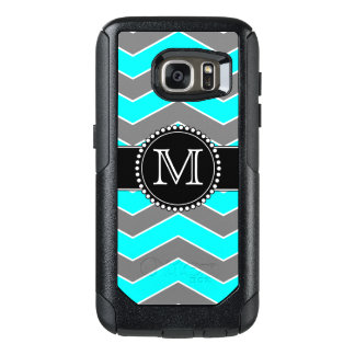 Cyan-blaues blaues, graues, schwarzes Zickzack, OtterBox Samsung Galaxy S7 Hülle