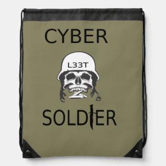 Cyber-Soldat-Hackerdrawstring-Tasche Turnbeutel