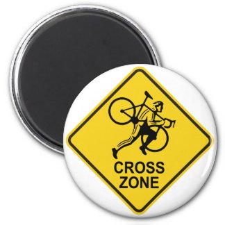 Cyclocross Zonen-Verkehrsschild Runder Magnet 5,7 Cm
