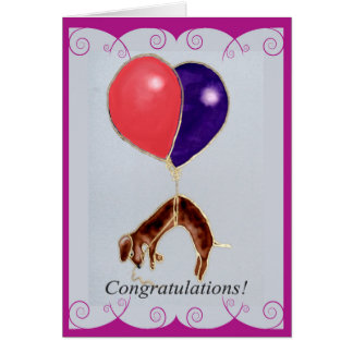 dachhund Welpe mit Ballonen, Glückwünsche Karte
