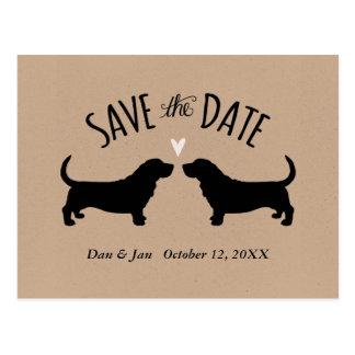 Dachshund-Jagdhund-Silhouetten, die Save the Date Postkarte