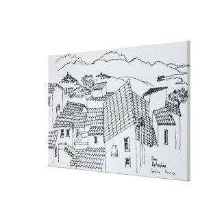 Dachspitzen von Sant'Antonino | Korsika, Leinwanddruck