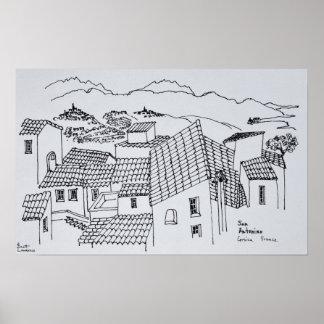 Dachspitzen von Sant'Antonino | Korsika, Poster