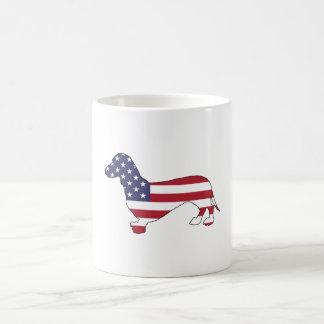 "Dackel ""amerikanische Flagge "" Kaffeetasse"