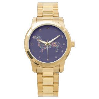 Dackel-Dackel-Hundeblumenmusterwatercolor-Kunst Armbanduhr