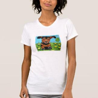 Dackel, die zu Ihnen Schaufel-Hals-Shirt laufen T-Shirt