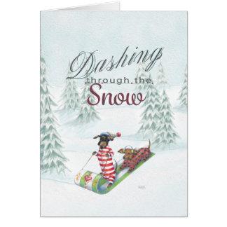 Dackel durch die Schnee Weihnachtskarte Karte
