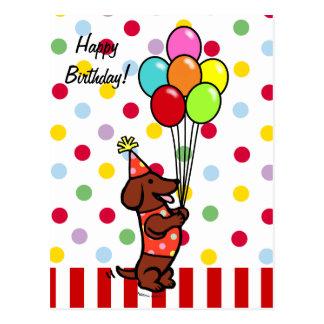 Dackel-Geburtstags-Cartoon-Ballone Postkarte