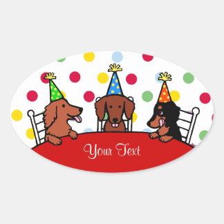 Dackel-Geburtstags-Cartoon Ovaler Aufkleber
