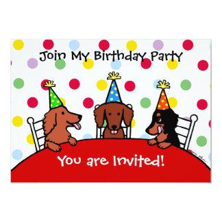 Dackel-Geburtstags-Cartoon-Party Einladung
