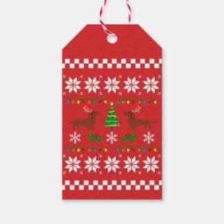 Dackel-Geweih-hässliches Weihnachtsmuster Geschenkanhänger