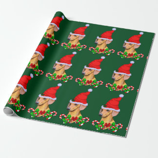 Dackel im Weihnachtsmannmütze-Weihnachten Geschenkpapier