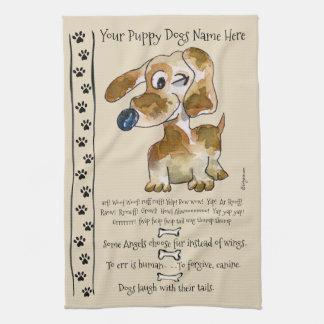 Dackel-Kreuzungs-Cartoon-Hund zitiert Küche Küchentuch