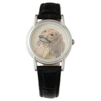 Dackel-(langhaarige) Malerei - ursprüngliche Uhr