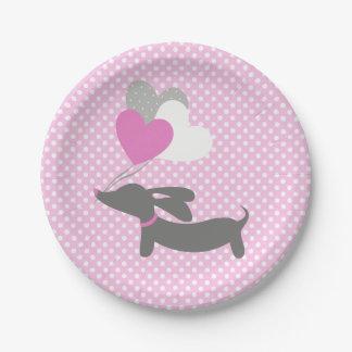 Dackel-rosa Mädchen-Baby-Duschen-Papier-Teller Pappteller