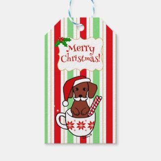 Dackel-Schnurrbart-WeihnachtsCartoon Geschenkanhänger