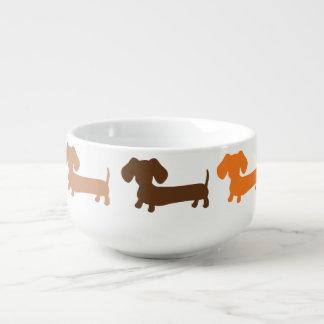 Dackel-Suppen-Schüssel-Tasse im Braun und im Rost Große Suppentasse