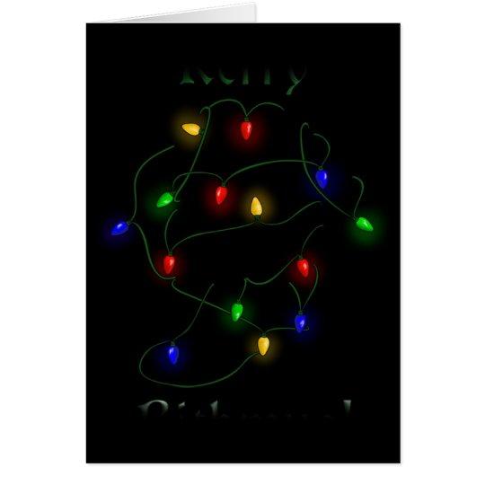 Dackel-Weihnachtslichter Grußkarte