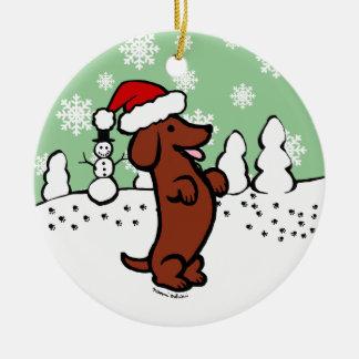 Dackel-WeihnachtsWeihnachtsmannmütze Keramik Ornament