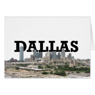 Dallas-Skyline mit Dallas im Himmel Grußkarte