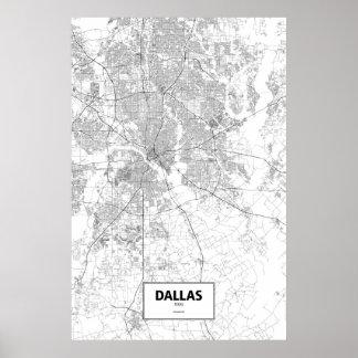 Dallas, Texas (Schwarzes auf Weiß) Poster