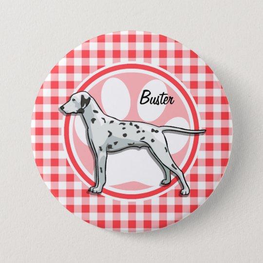 Dalmatiner; Roter und weißer Gingham Runder Button 7,6 Cm