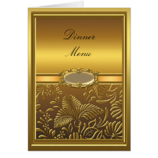 Damassé d'or de carte de menu de dîner florale