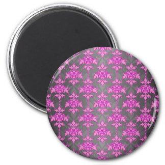 Damassé Girly de gris rose et argenté Magnet Rond 8 Cm