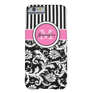 Damassé rayée rose, noire, blanche décorée d'un mo coque iPhone 6 barely there