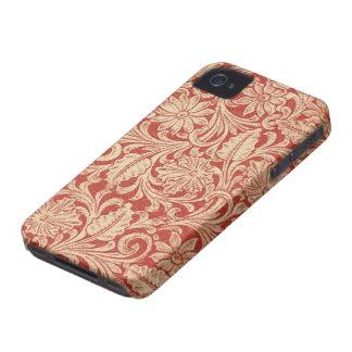 Damassé vintage Blackberry rouge floral 97009780 a Étui iPhone 4