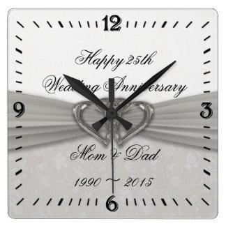 Damast-25. Hochzeitstag-quadratische Wanduhr