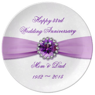 Damast-33. Hochzeitstag-Porzellan-Platte Porzellanteller