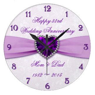 Damast-33. Hochzeitstag-Wanduhr Uhr