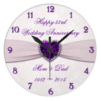 Damast-33. Hochzeitstag-Wanduhr Uhren