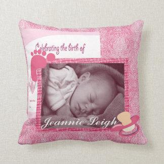 Damast-Baby-Mädchen-Geburts-Foto-Andenken Kissen