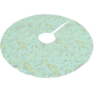 Damast-Blumenschimmer-Gold auf irgendeiner Farbe Polyester Weihnachtsbaumdecke