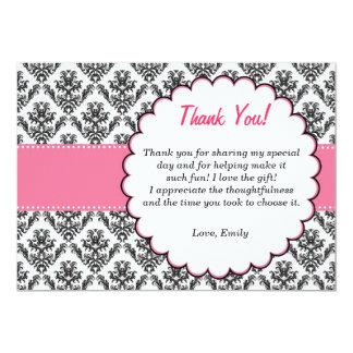 Damast danken Ihnen, rosa Schwarzes zu kardieren 12,7 X 17,8 Cm Einladungskarte
