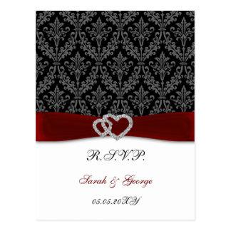 Damast diamante rotes Hochzeit UAWG Postkarte