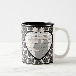 Damast-Eleganz-Hochzeits-Tasse Zweifarbige Tasse