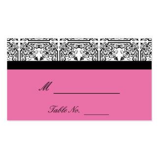 Damast-Freude in den rosa Hochzeits-mit BlumenPlat Visitenkarten Vorlage