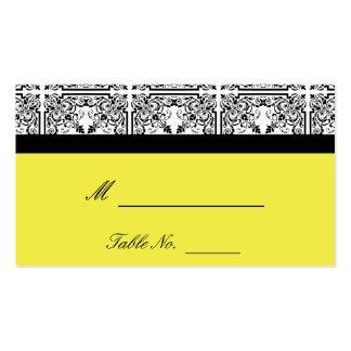 Damast-Freude in den zitronengelben Hochzeits-Plat Visitenkartenvorlage