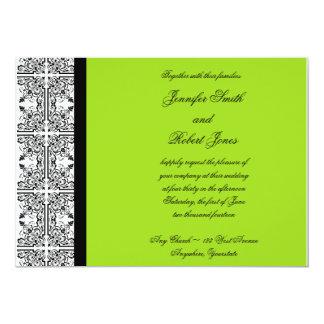 Damast-Freude in der Limonen grünen Einladung