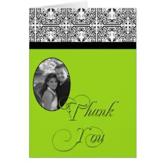 Damast-Freuden-Limones Grün danken Ihnen zu kardie Grußkarte