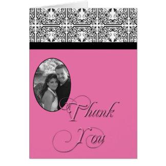 Damast-Freuden-mit Blumenrosa und Schwarze danken  Karten